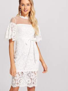 Ribbon Tie Waist Split Hem Lace Dress