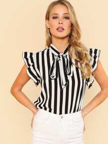 Tie Neck Ruffle Sleeve Striped Blouse