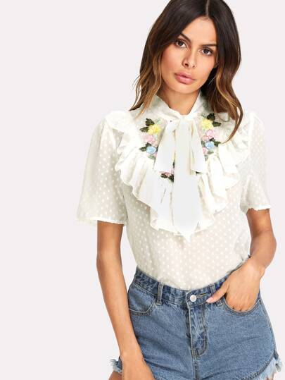 Tie Neck Flower Embroidered Dot Jacquard Top