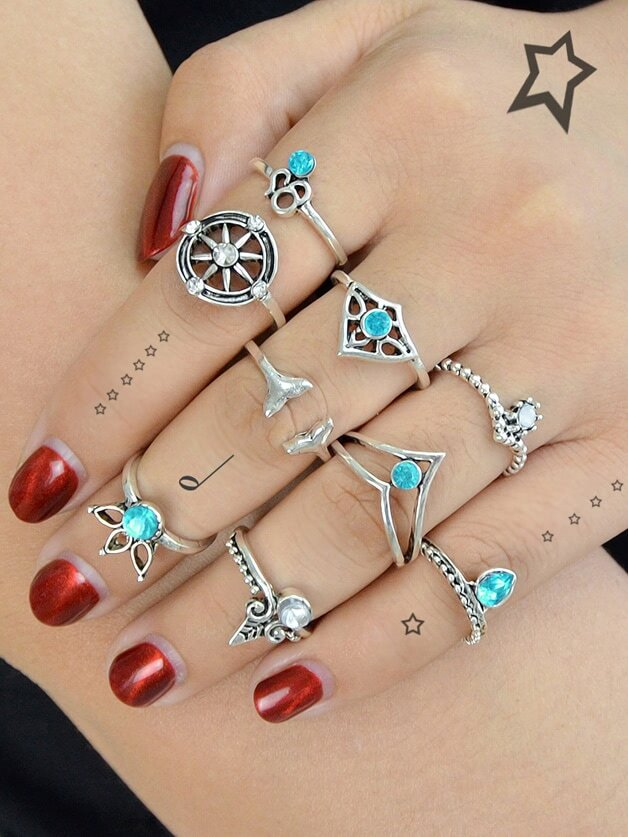 9 Pcs/Set Geometric Blue Rhinestone Rings винт гребной blue star sea 9 1 4 10 9 9 15 л с for yamaha