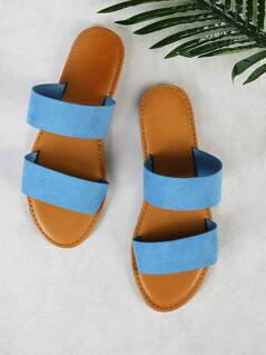 Faux Suede Double Band Slide Sandal LIGHT BLUE