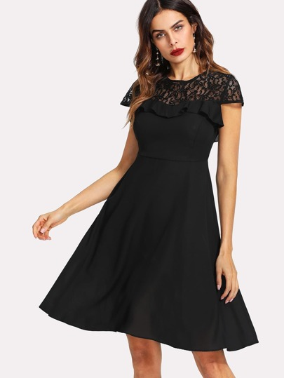 Ruffle Trim Lace Sweetheart Dress