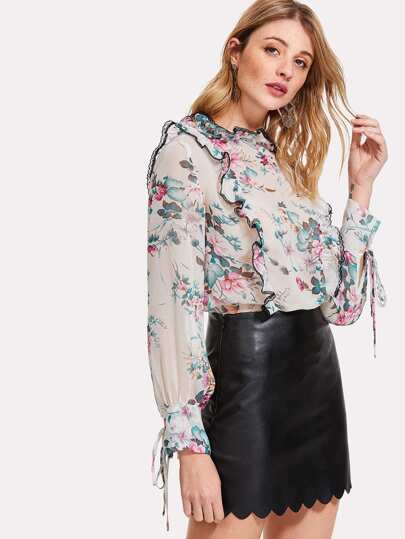 Ruffle Detail Semi Sheer Floral Top