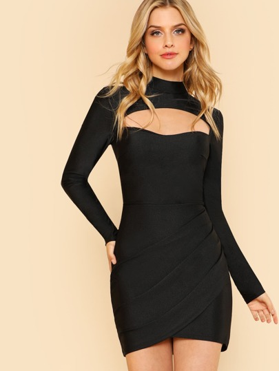 Front Cut Out Mock Neck Dress