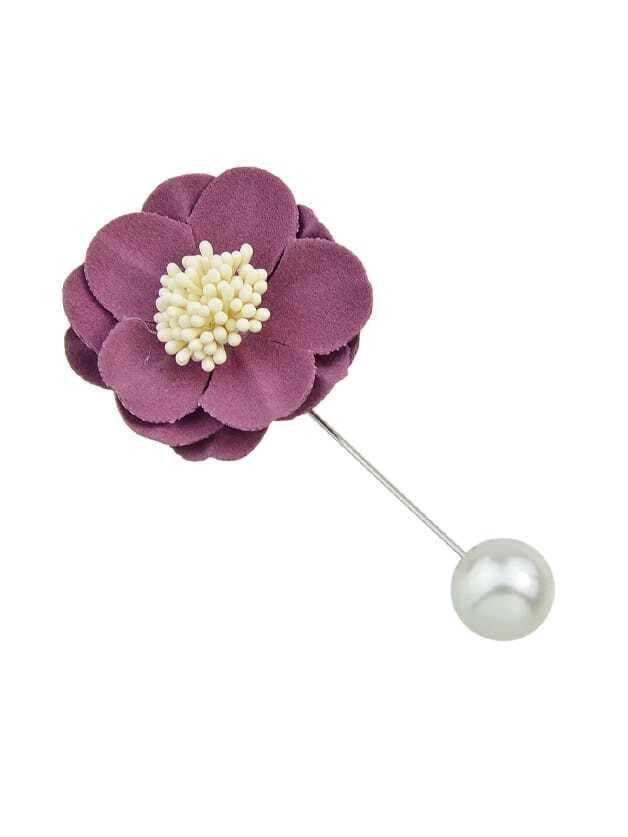 Purple Flannel Flower Ball Brooch purple flower grass brooch