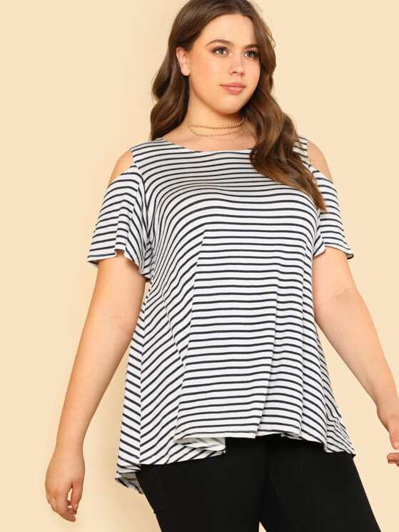 e342639f4aa5e Plus Cold Shoulder Short Sleeve Stripe Top IVORY NAVY