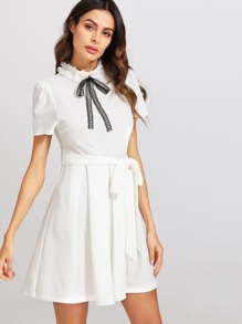 Pearl Detail Lace Bow Embellished Belted Dress
