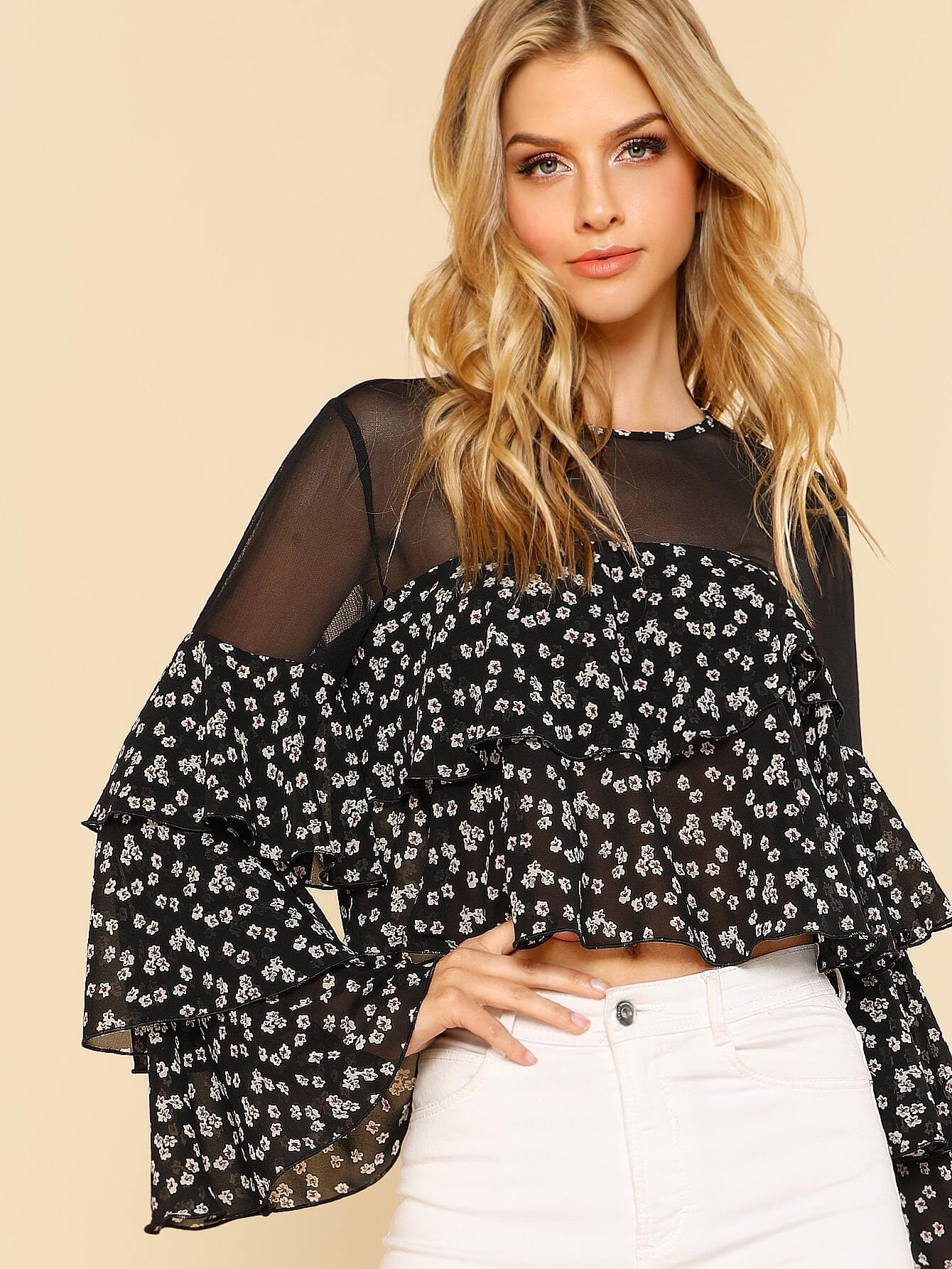Mesh Shoulder Layered Floral Top pearl detail layered frill sleeve top