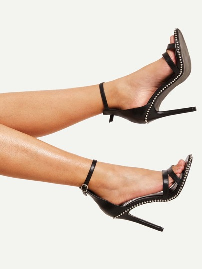 Studded Detail Ankle Strap Stiletto Heels