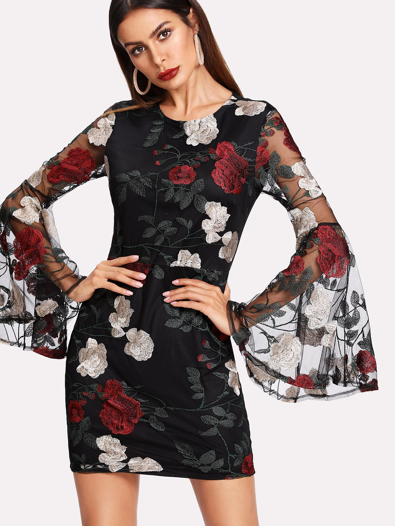 Floral Embroidered Mesh Flounce Sleeve Dress flounce sleeve embroidered mesh dress