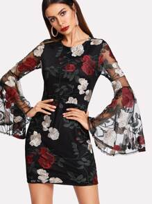Floral Embroidered Mesh Flounce Sleeve Dress