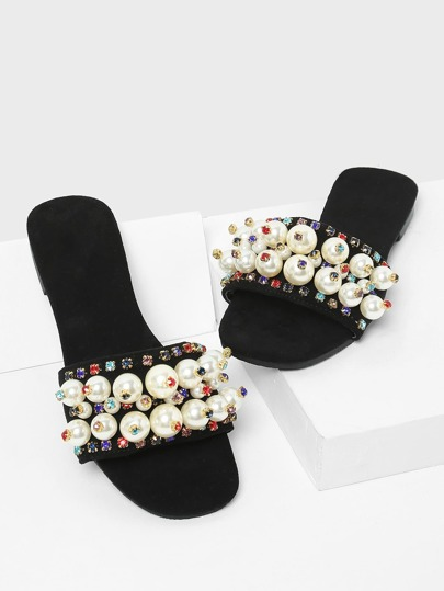 Faux Pearl & Rhinestone Decorated Sandals