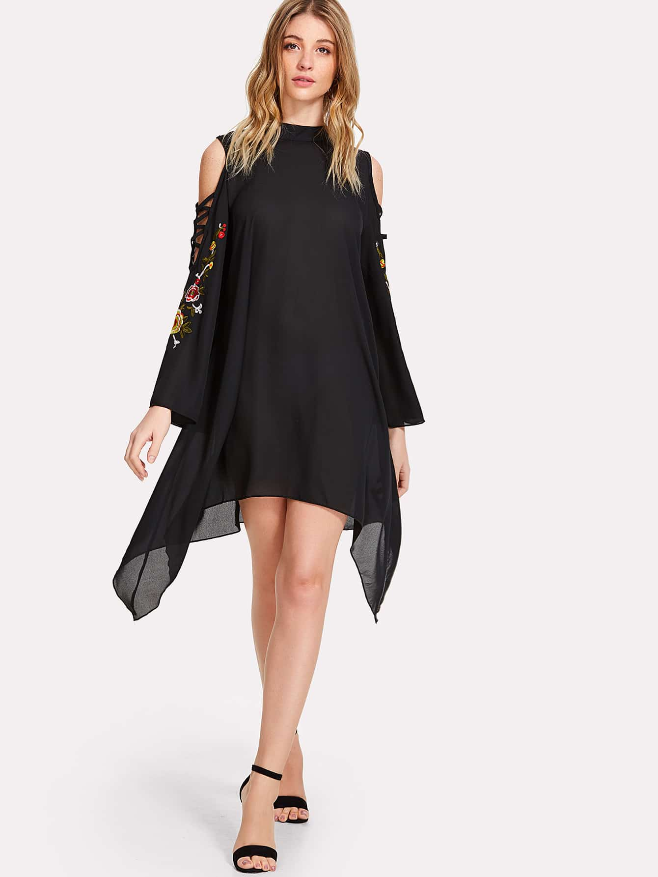 Crisscross Embroidered Sleeve Hanky Hem Swing Dress high slit hanky hem metallic halter dress