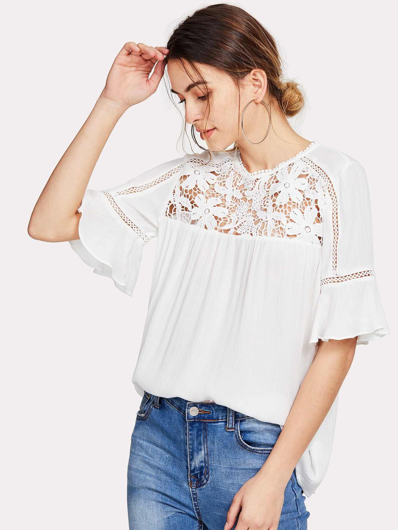 Hollow Floral Lace Yoke Keyhole Back Top knot front floral lace yoke top