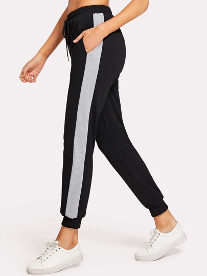 Contrast Tape Drawstring Waist Sweatpants