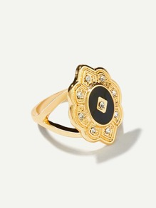 Contrast Flower Ring With Rhinestone