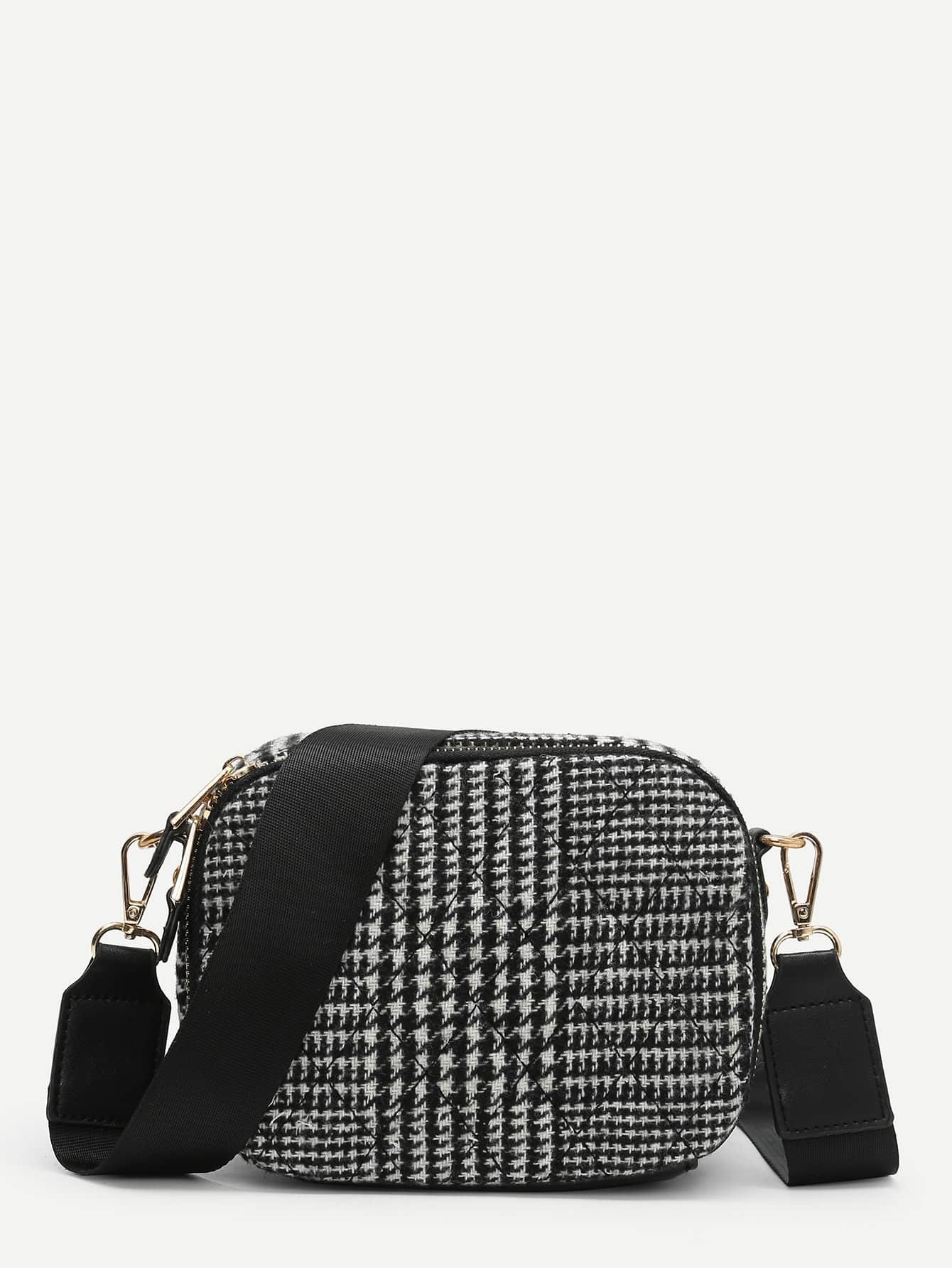 Houndstooth Print Crossbody Bag