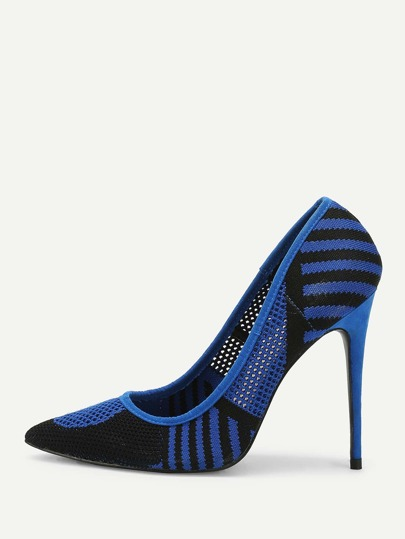 Striped Design Pointed Toe Knit Heels