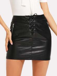 Lace Up Front Zip Detail PU Leather Skirt