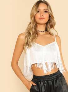 Fringe Trim Crop Cami Top