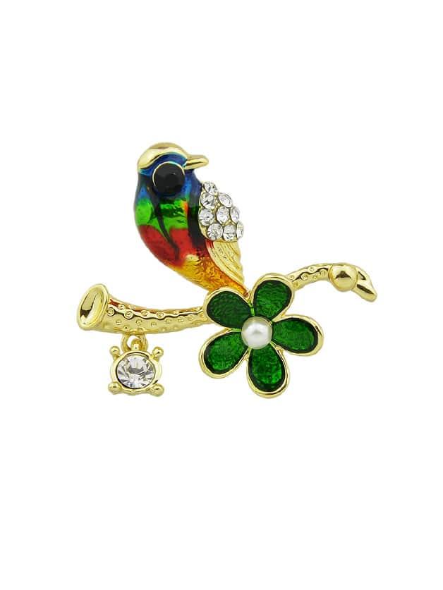 Bird Enamel Brooch hollow enamel christmas bell floral brooch