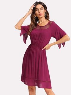 Ruched Waist Flutter Sleeve Dress
