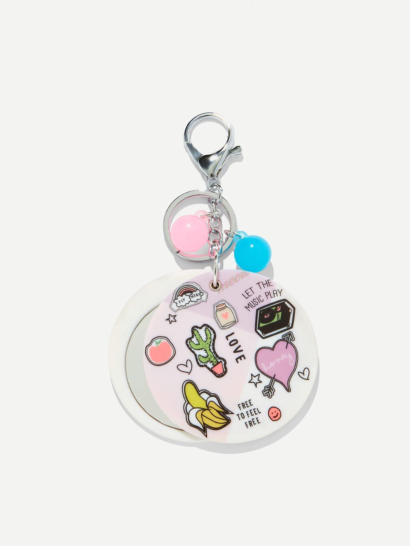Random Color Ball Cartoon Round Keychain