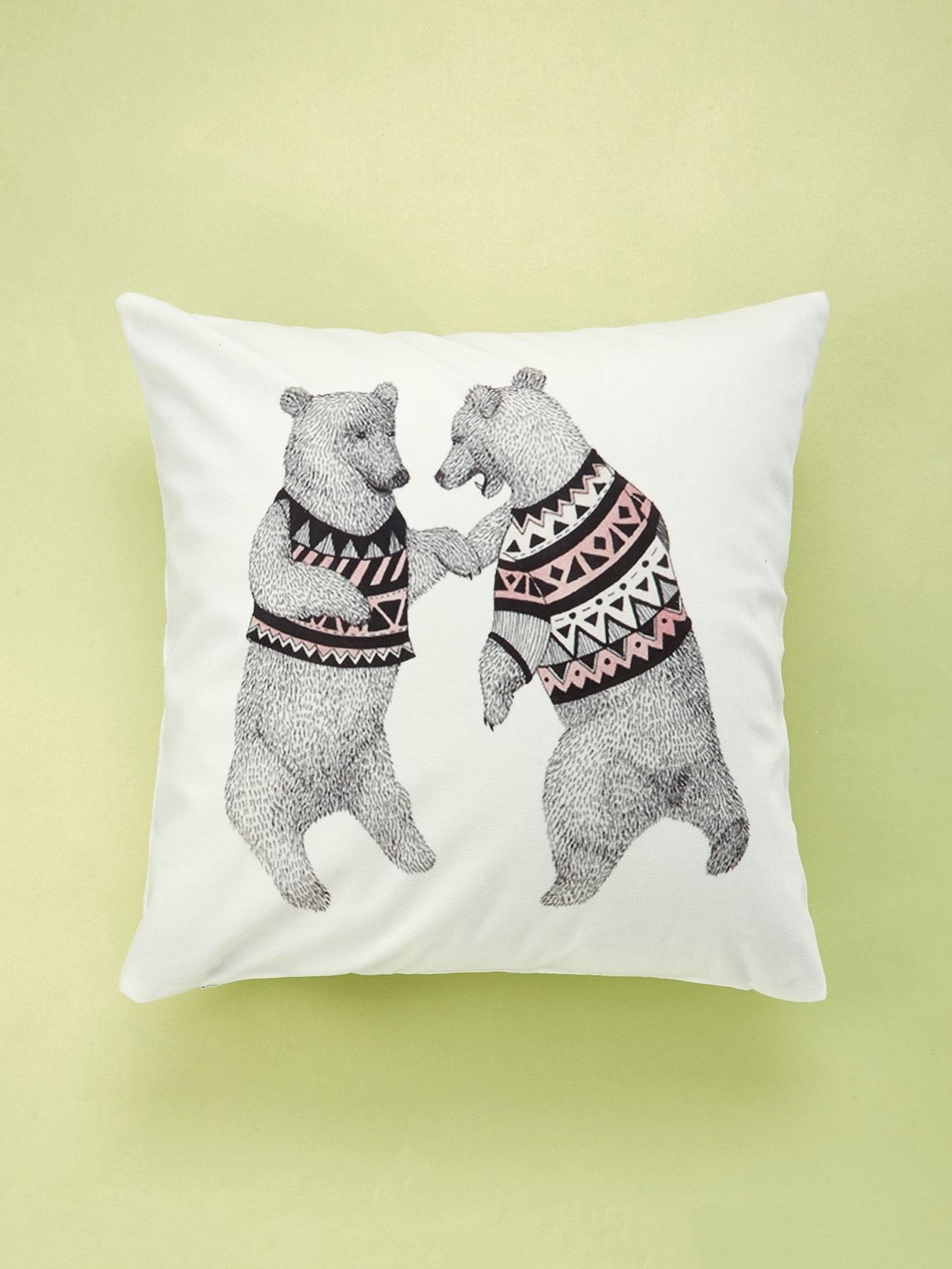 Double Bear Print Cushion Cover