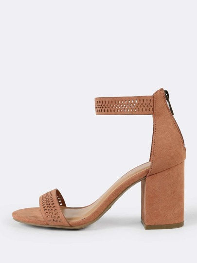Faux Suede Cut Out Detail Single Band Ankle Strap Open Toe Heel MOCHA
