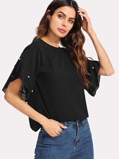 Pearl Beaded Ruffle Sleeve Top