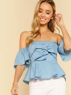 Off Shoulder Knot Front Crop Top CHAMBRAY