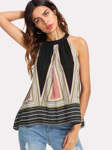 Geometric Print Halter Top