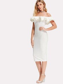 Pearl Beading Layered Flounce Bardot Dress