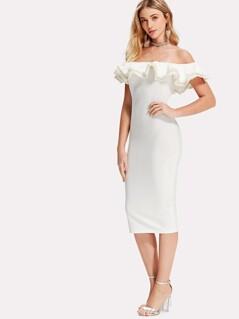 Pearl Beading Layered Flounce Bardot Dress