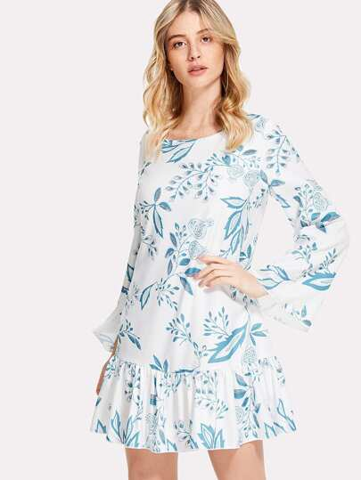 Ruffle Hem Botanical Dress
