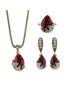 Jewelry Sets Rhinestone Necklace Earring And Finger Ring
