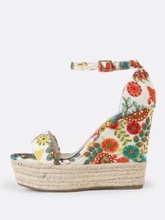 Embroidered Flower Print Espadrille Platform Wedge Sandal WHITE