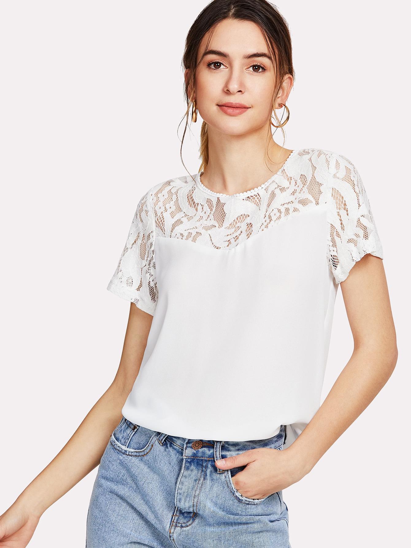 Floral Lace Insert Blouse lace insert floral blouse