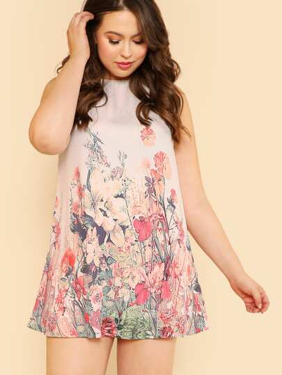 Botanical Print Sleeveless Dress