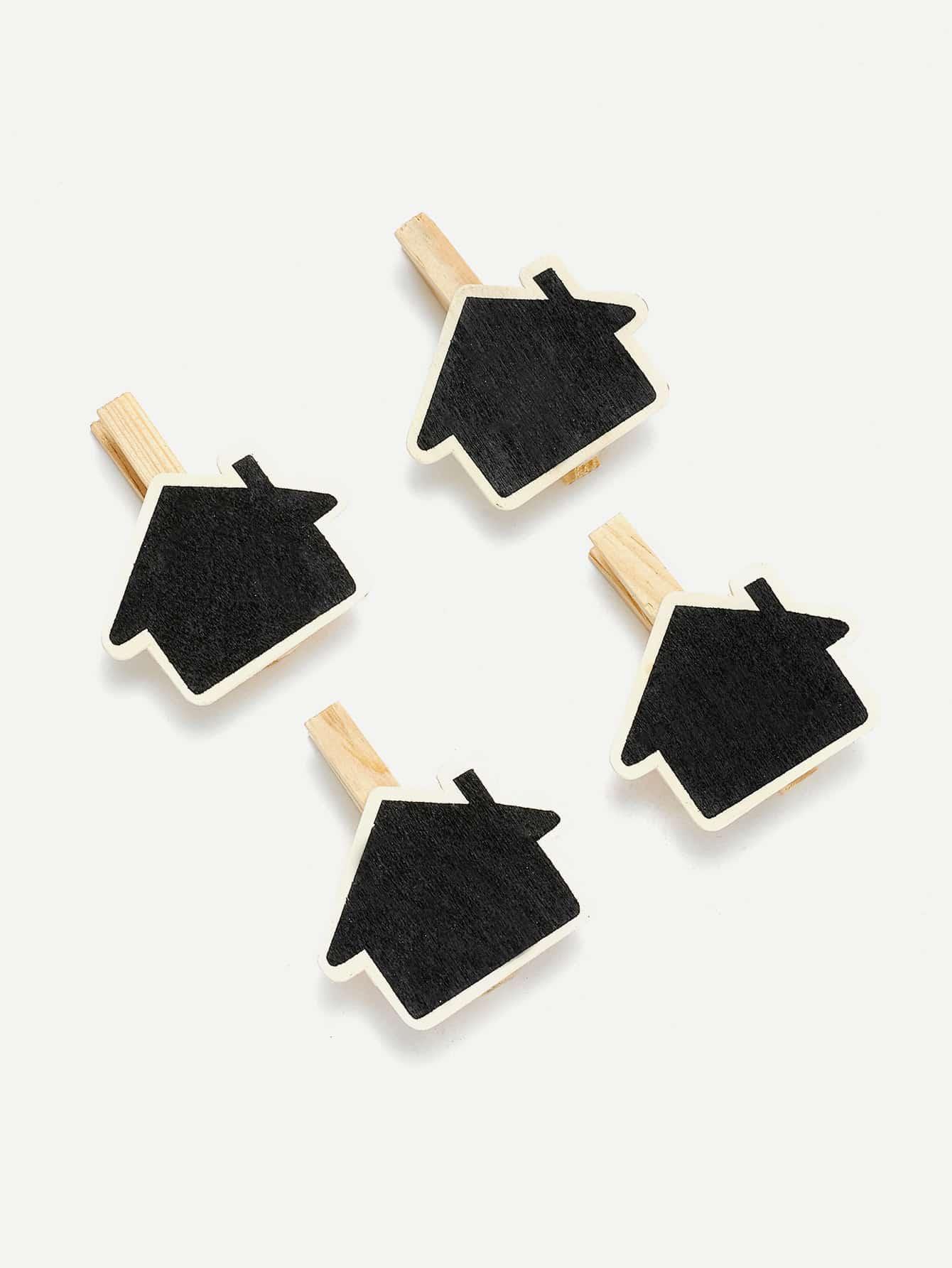 House Shape Blackboard Wooden Clips 4Pcs