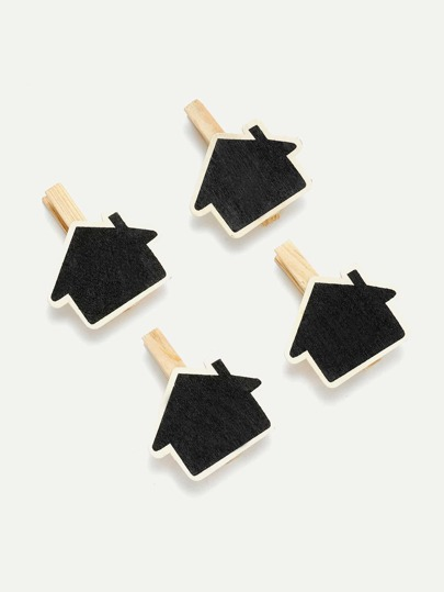 House Shape Blackboard Wooden Clips 4Pcs