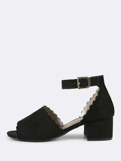 Scalloped Trim Peep Toe Faux Suede Ankle Strap Low Block Heel BLACK