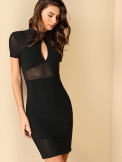 Keyhole Front Mix Media Fitted Dress