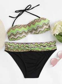Detachable Straps Chevron Bikini Set