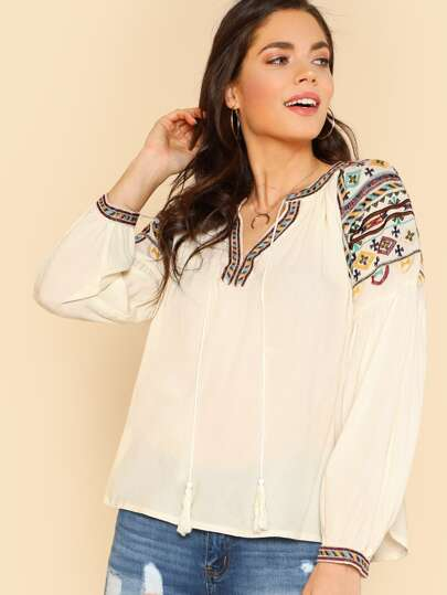 Tribal Embroidered Tassel Detail Tunic Top IVORY