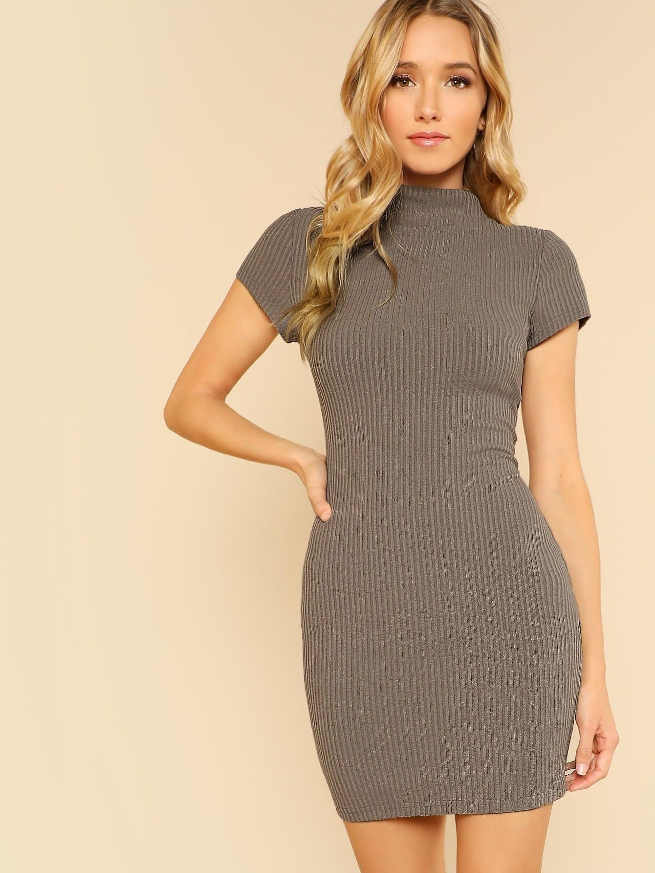 Mock Neck Rib Knit Dress mock neck lace up rib knit dress