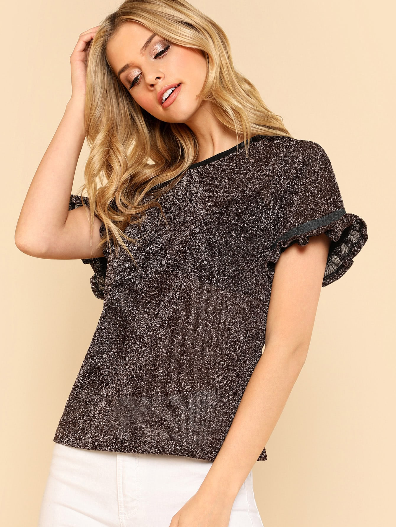 Contrast Tape Frill Trim Semi Sheer Glitter Top цена