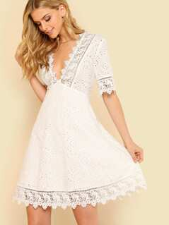Guipure Lace Trim Schiffy Plunge Flare Dress