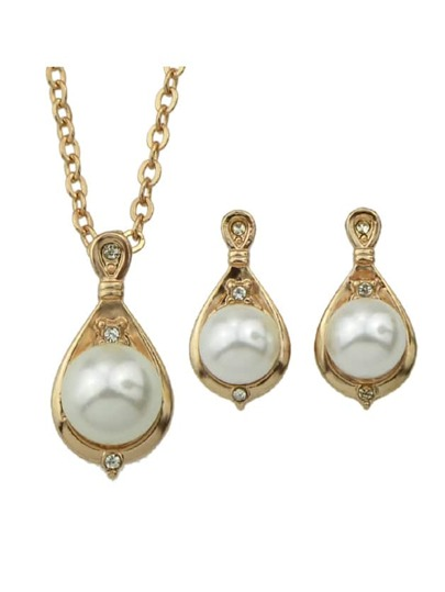 Jewelry Set Simulated-Pearl Necklace And Earrings