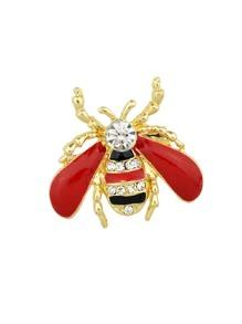 Red Enamel Rhinestone Honeybee Brooch